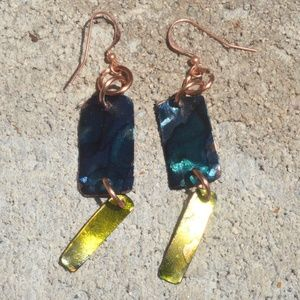 Blue Green Embossed Dangle Pure Copper Earrings